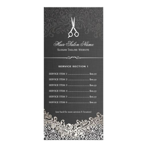 Hair Salon Elegant Dark Silver Damask Price List Rack Card Design