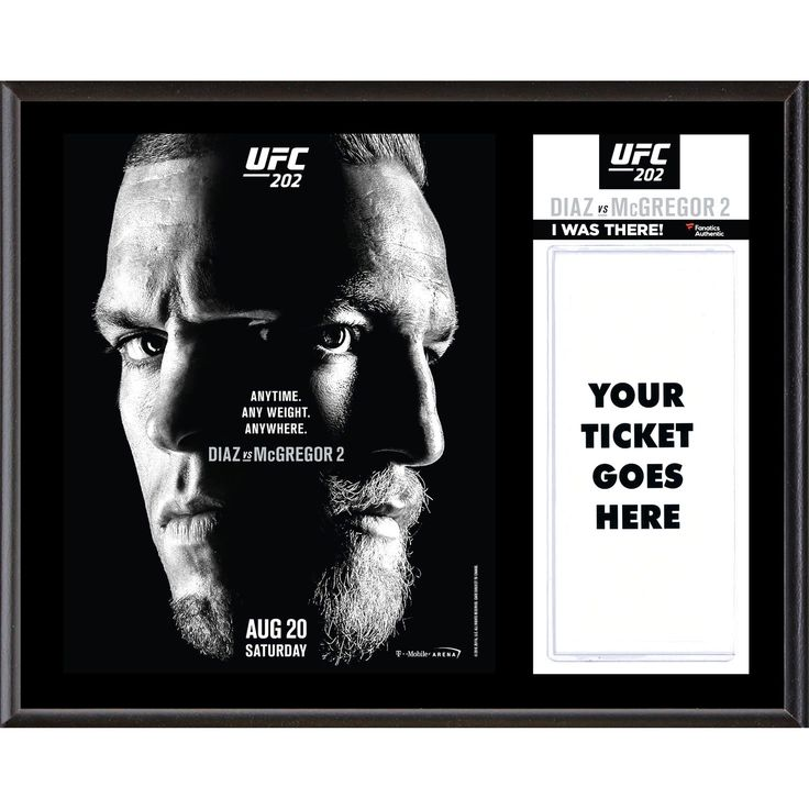 """Fanatics Authentic UFC 202 Nate Diaz vs. Conor McGregor II Dueling """"I Was There"""" 12"""" x 15"""" Sublimated Plaque - $31.99"""