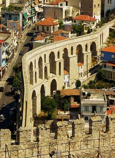 """ruins of the aqueduct"".. Kavala Town, Greece"