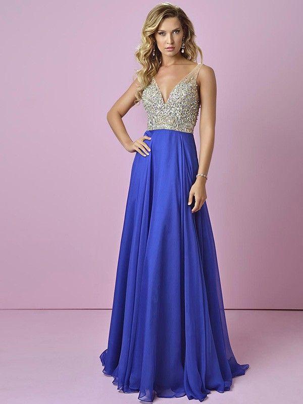 A-line/Princess V-neck Sleeveless Beading Floor-Length Chiffon Dresses