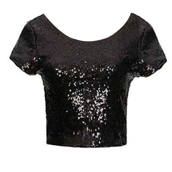 Plain Paillette Sparkling Round Neck Crop-tops ($16) ❤ liked on Polyvore featuring tops, round neck crop top, sparkly crop top, round neck top, sparkly tops and crop top