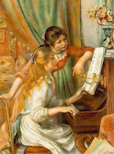 Hand-crafted, this piece by Pierre Auguste is featured on a stretched canvas, ensuring a professional representation of 'Two Young Girls at the Piano'. For your convenience, this piece is ready to han
