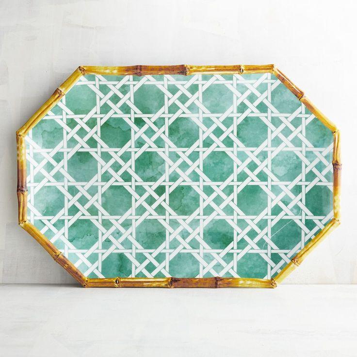 Chinoiserie Turquoise Melamine Serving Platter Blue