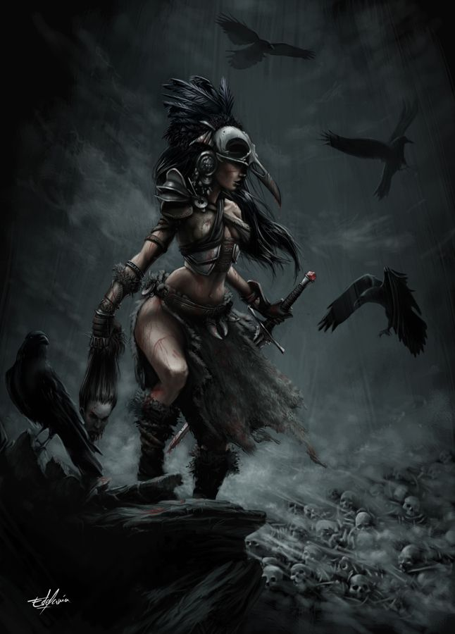 The Morrigan~ Celtic Goddess of War. As a Triple Goddess, The Morrigan's three aspects were Neaim, Macha, and Badb. The Morrigan was a shape-shifter, who would usually take on the form of a raven or a crow. Goddess of battle, strife & fertility.