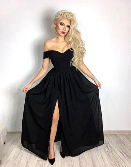 fcdd1fada78 Simple black chiffon long prom dress