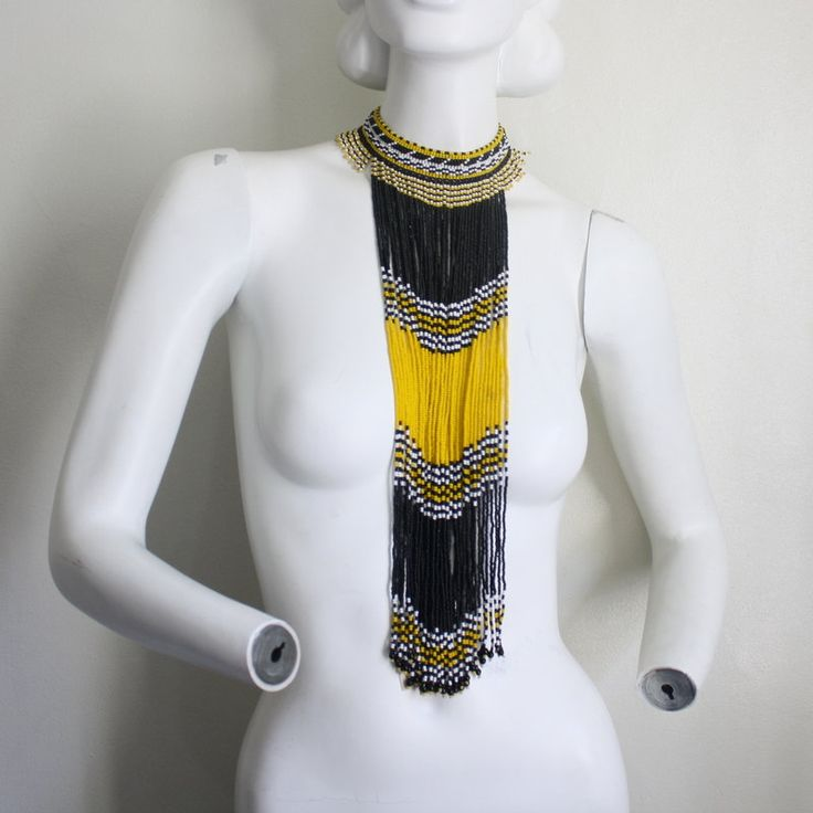 Vintage South African Beaded Tribal Necklace
