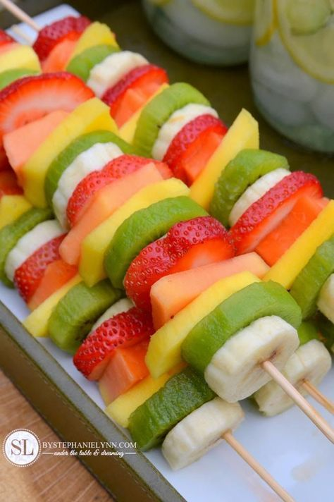 Party Fruit Kabobs - so easy! no recipe required! just slice bananas, kiwi, mangos and papaya and put them on skewers! Pretty & Healthy!