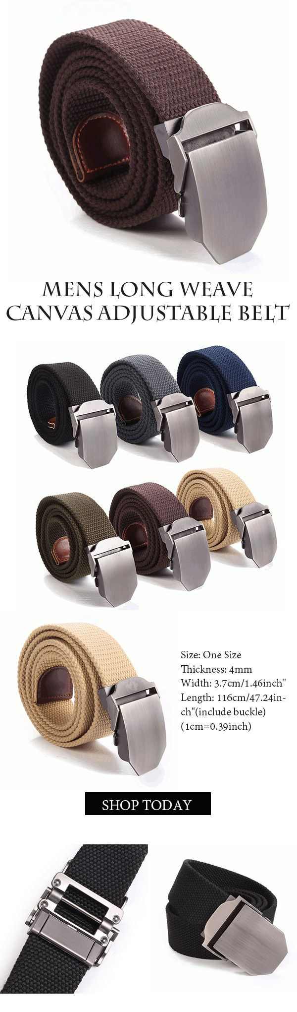 Mens Long Weave Canvas Web Buckle Belt #outfits #mensfahion #outdoors