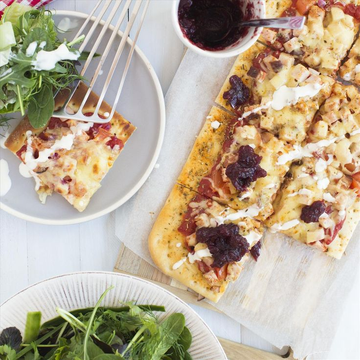 Smoked Turkey and Cranberry Pizzas with Mesclun Salad
