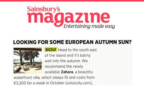 Zahara - our beautiful villa in south-east Sicily is in the Sainsbury's Magazine!