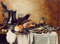 Pieter Claesz. Monochroom banketje. Haarlemse School 17e eeuw. Douwes, Amsterdam/Londen. Pieter Claesz is grote meester van het monochroom banketje. Deze schilderijen werden  populair de 1640's. Ze zijn het tegenovergestelde van de pronkstillevens. De banketjes vertonen een eenvoud in voorwerpen en voedsel zien in vaak bruine en grijze tinten. De compositie is eenvoudig en in evenwicht. Het hoofddoel van Claesz was de materialmen en lichtreflecties weer te geven. Hierin was hij een meester.