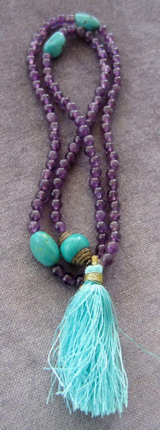 Amethyst Prayer Beads Tibetan Guru Bead Turquoise Silver Turquoise Marker Turquoise Tassel 108 4 mm Purple Gemstone Meditation Mala Necklace