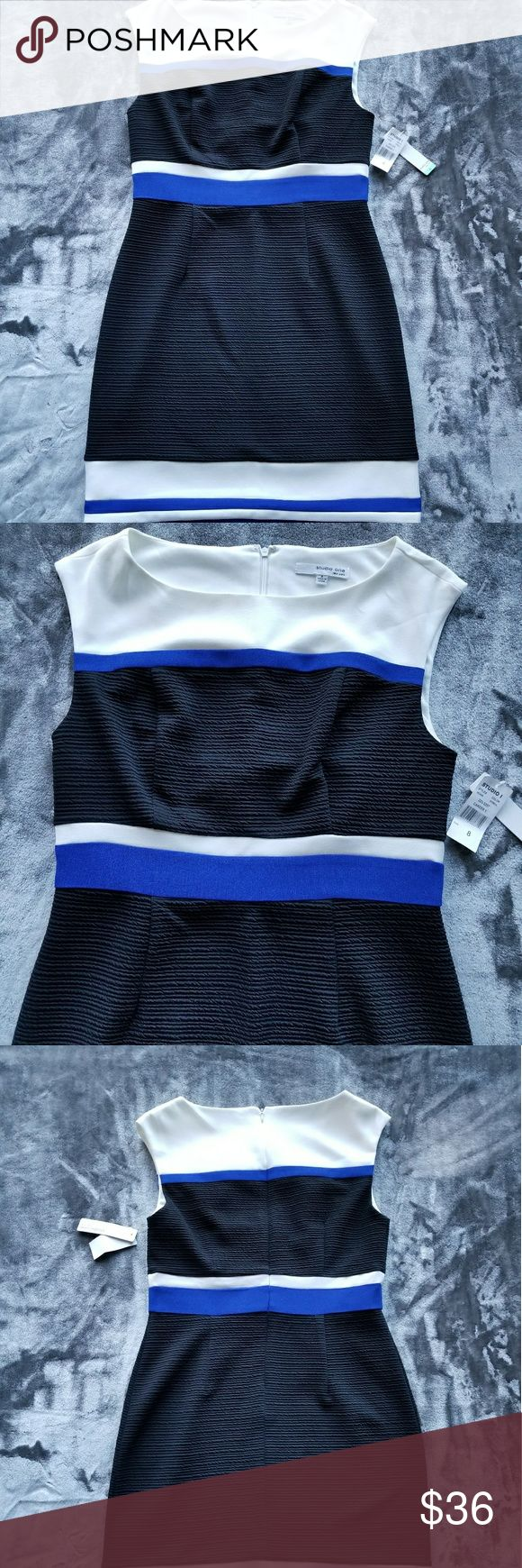 Dress Brand new dress with tags. Studio one. Made in China. Size 8. Body: 95% Polyester 5% Spandex. Lining 100% Polyester. Dry clean only. Black, beige and bright blue. Studio One Dresses Midi