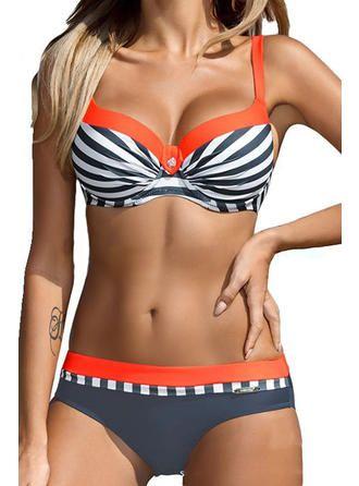 Stripe Strap Fashionable Plus Size Bikinis Swimsuits (202233075)