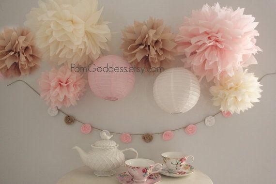 Shabby Wedding Decor,8 Tissue Poms,Shabby Birthday Decor,Chic Wedding,Blush Wedding,Cottage Chic,Reception on Etsy, $22.33 CAD