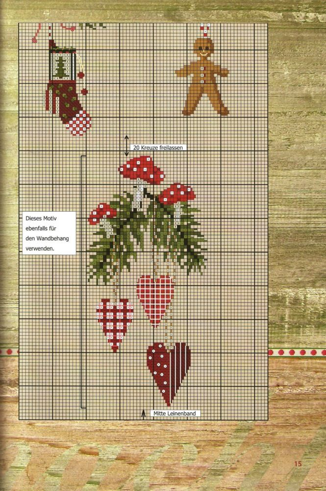 Wintery cross-stitch pattern