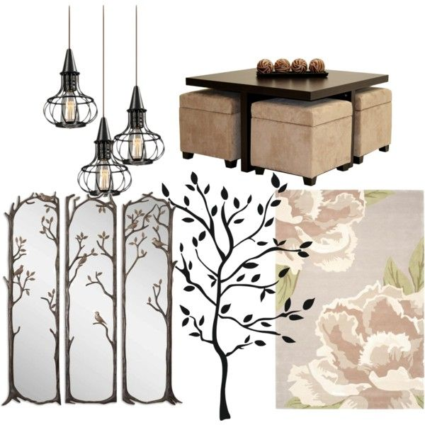 Trees, Metal, Fowers, Wood by ellary-branden on Polyvore featuring interior, interiors, interior design, home, home decor, interior decorating, Dorel and RoomMates Decor