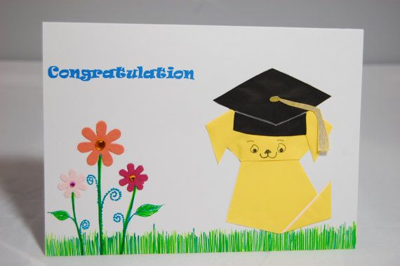 Graduation/Congratulation Card  Origami Dog by SallysArtistry, $4.99