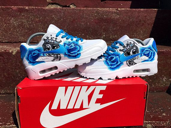 Custom faded blue rose and skull Nike air max 90 These are