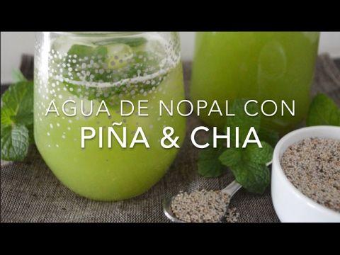 Agua de nopal con chía y menta (saludable & sin azúcar)