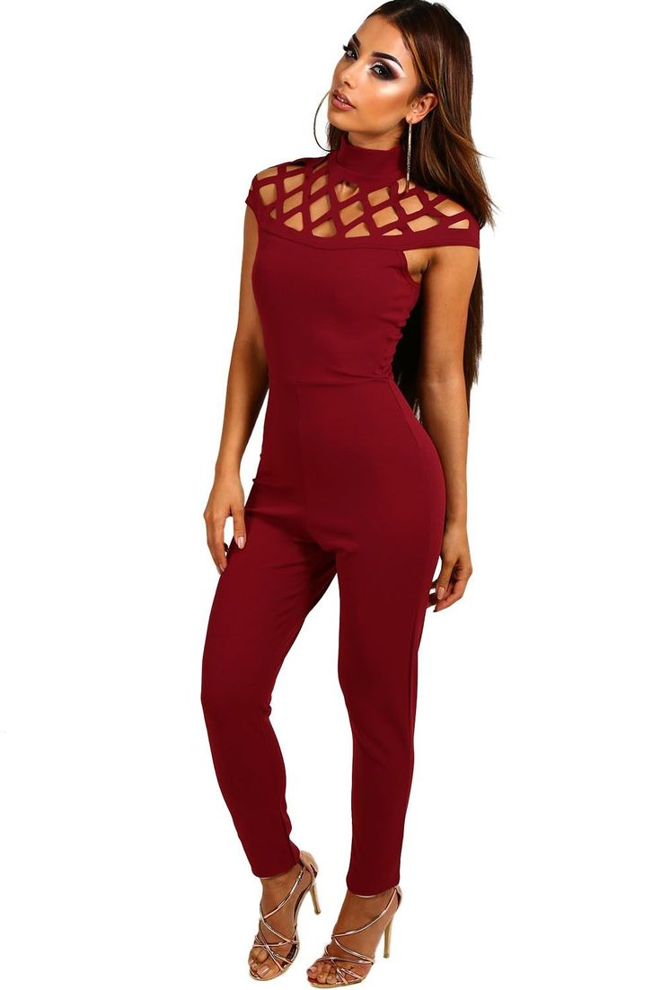 Chicloth Plum Cage Top Skinny Fit Jumpsuit