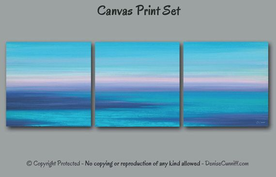 Abstract seascape painting - art print set of 3 square canvases. Ideal for home or office teal and navy blue beach decor. Artist: Denise Cunniff - ArtFromDenise.com. View more info at https://www.etsy.com/listing/273398944