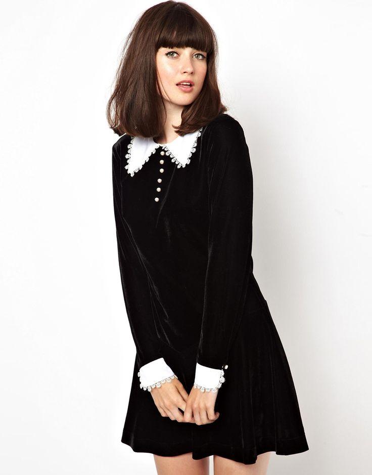 Image 1 ofPop Boutique Wednesday Velvet Dress