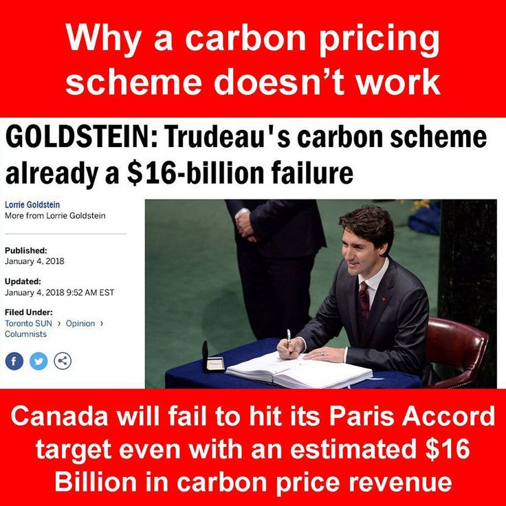 Source/credit: Toronto Sun  #2018 is officially here and with it the carbon pricing scheme. #trudeau pre-election said that a #nationwide carbon scheme imposed by the #federalgovernment was a nonsensical plan. And he is right... People have done the math and looked at the financials and even after an estimated $16 Billion of revenue from the carbon scheme #canada will still not meet its targets they commit to in the #parisaccord . This goes to show no matter what your position on…