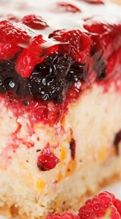 Peach Cake with Berry Jelly Topping ~ A Yummy recipe for peach cake with a berry jello topping. This is a fresh and light dessert.
