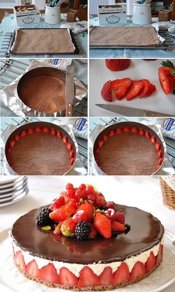 DIY Frasier Cake food cake desert recipe recipes ingredients instructions desert recipes cake recipes cakes frasier cake