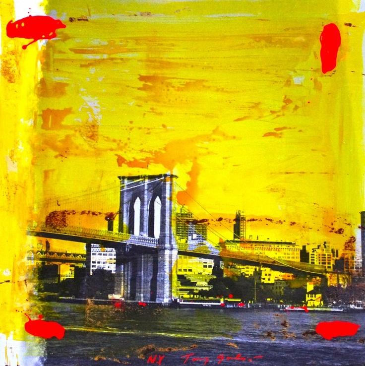 """""""New-York, 2010"""" by Tony Soulié -  Mixed technique on wood 125 x 125 cm #Soulié #photograph #Painting #bridge #NewYork"""