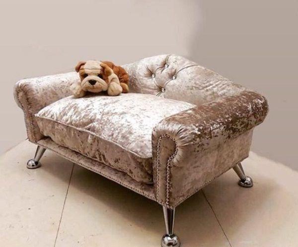 Pleasing Luxury Dog Pet Sofa Beds Luxury Crushed Velvet In Mink Evergreenethics Interior Chair Design Evergreenethicsorg