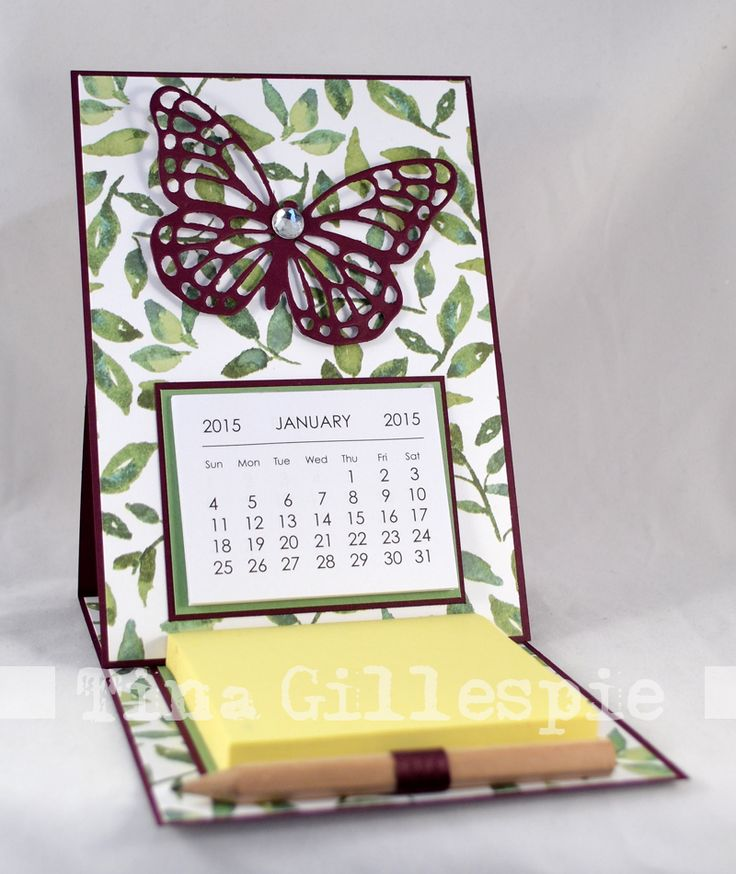 Desk-ready easel card with calendar and post-its ~ by Tina Gillespie, Scissors Paper Card