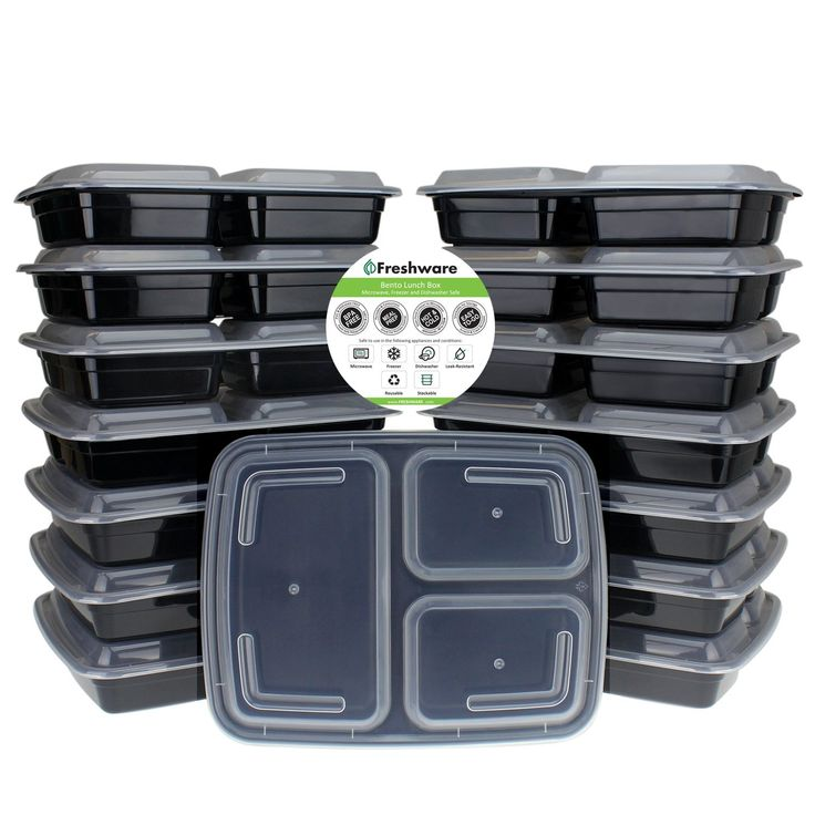 Amazon.com: Freshware 15-Pack 3 Compartment Bento Lunch Boxes with Lids - Stackable, Reusable, Microwave, Dishwasher & Freezer Safe - Meal Prep, Portion Control, 21 Day Fix & Food Storage Containers (32oz): Kitchen & Dining