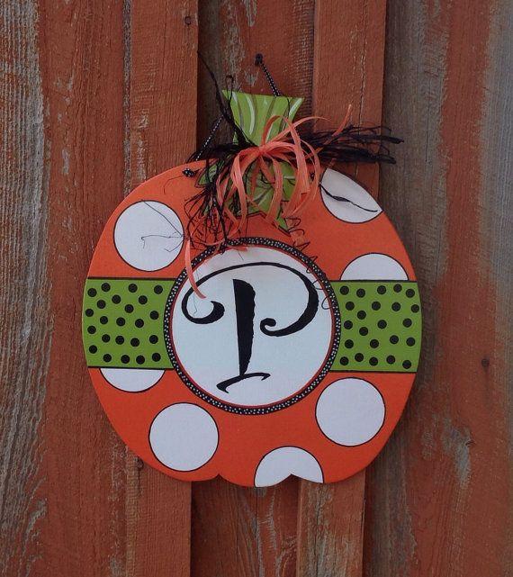 Fall Door Hanger Personalized Pumpkin Door by TheRedWoodBarn