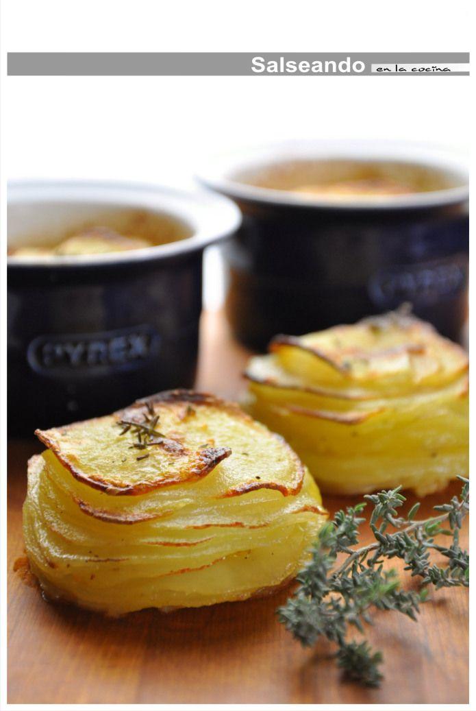 Salseando en la cocina: Laminado de patata al horno. Pommes Anna en versión individual.
