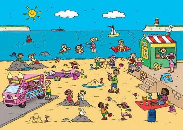 Describe the beach scene