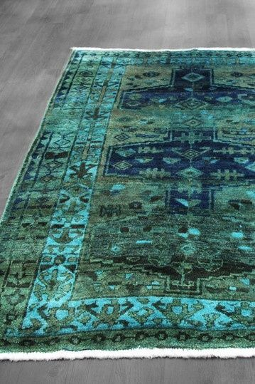 5x7 Overdyed Northwest Persian Geometric Military Green Teal Blue Rug