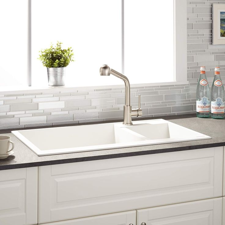"34"" Arvel 70/30 Offset Double-Bowl Drop-In Granite Composite Sink - White"