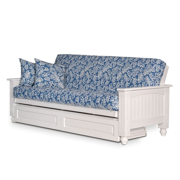 Cottage White Futon Frame with Storage Drawers - Queen Size