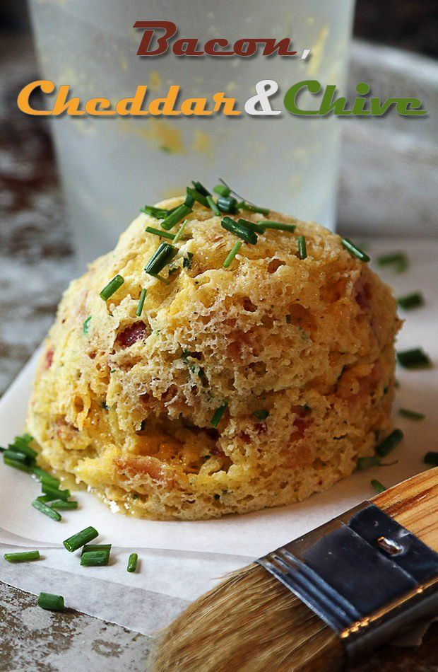 Bacon, Cheddar and Chive Mug Cake - Shared via www.ruled.me