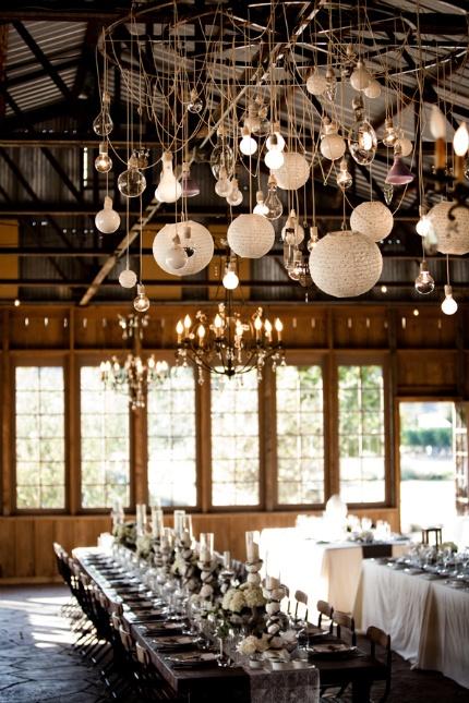 String up REGOLIT pendant lampshades alongside vintage lighting to create a beautiful setting
