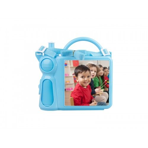 Personalised Children's Lunchbox with Water Bottle and Handle - BluePremium quality coloured plastic lunch box for childrenComes with a water bottle that is held securely inside when the lunchbox is closed and released when openEasy to hold handle makes it suitable for smaller children as well as ol