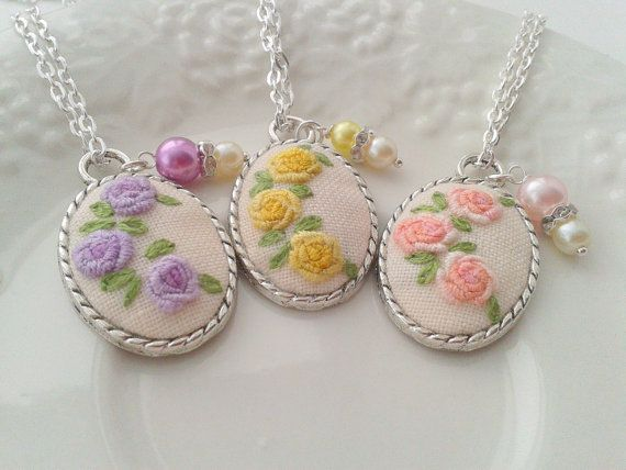 "Bridesmaid set of 3 Shabby floral hand embroidered by ConeBomBom, $50.00    Size:  * Pendant is 2.5 cm x 3.9 cm (1"" x 1.5"")  * Embroidered piece is 2.1 cm x 2.8 cm (0.84"" x 1.12"")  *Choose the length of the chain in the upper right corner of this page."