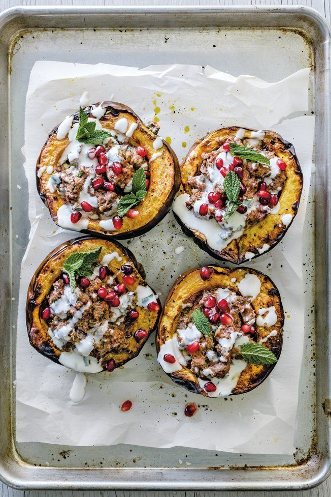 Acorn Squash Stuffed With Ground Lamb And Pomegranate Recipe