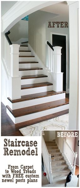A Beautiful DIY Staircase Makeover - remove carpet, custom newel posts, wider bottom stairs, love it all!