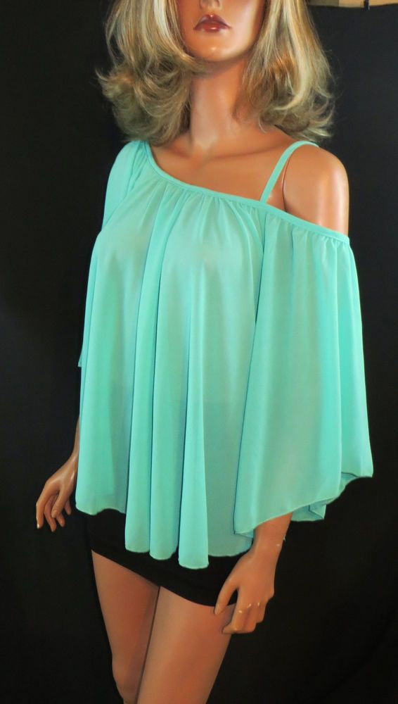 Cowgirl Gypsy Peasant Mint Top Flowing shirt Butterfly sleeve one Shoulder large #aggie #Tunic