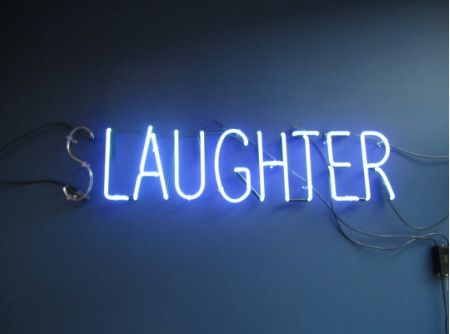 """I put the laughter in slaughter."" ""Ha-ha-ha, except you're not funny."""