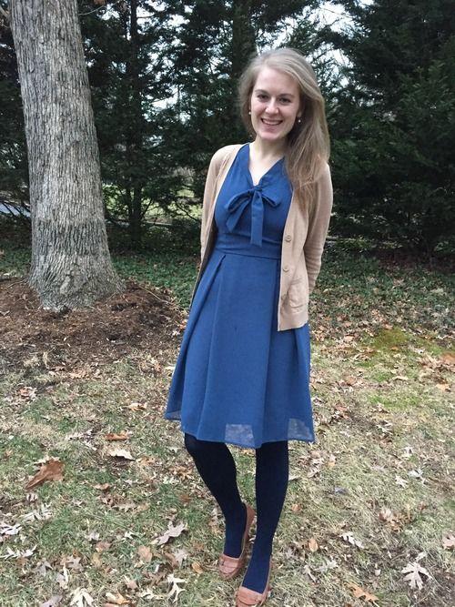 blue dress + navy tights + tan accents