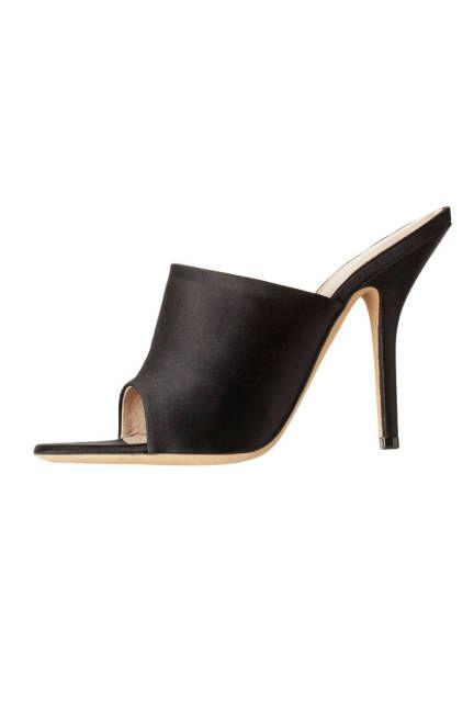 Optic Mule in Black Black satin mule with peep toe and elegant heel.   Read more: Mule Shoes - Designer Mules for Spring - ELLE  Follow us: @ElleMagazine on Twitter | ellemagazine on Facebook  Visit us at ELLE.com